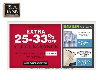 Extra 25-33% off All Clearance Items at Jos. A. Bank
