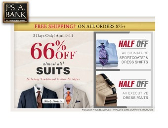 66% off Traditional & Slim Fit Suits at Jos. A. Bank
