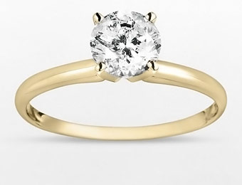 55% Off 14k Gold 1 Carat Diamond Solitaire Ring