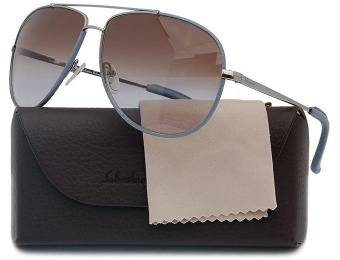 $280 off Salvatore Ferragamo Gunmetal & Leather Sunglasses