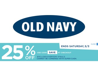 Extra 25% off Your Purchase at Old Navy