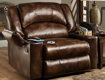 50% off Simmons The Boss Leather Massage Recliner