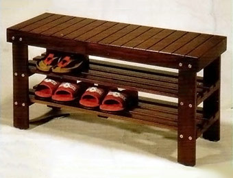 50% off Cherry Finish Solid Wood Shoe Storage Bench