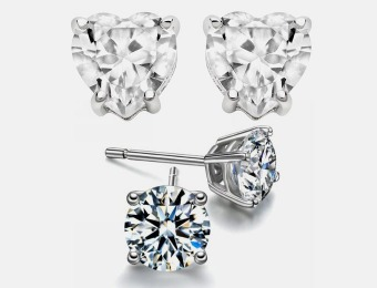 95% off 2ct Sterling Silver Simulated Diamond Studs