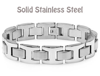 "$40 Off 8.5"" Solid Stainless Steel Chain Link Bracelet"