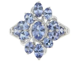 $200 Off Sterling Silver 1.50ctw Tanzanite Cluster Ring