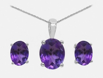 94% off Genuine Amethyst Pendant and Stud Sterling Silver Set