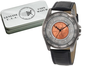 91% off August Steiner Men's Wheat Penny Antique Coin Watch