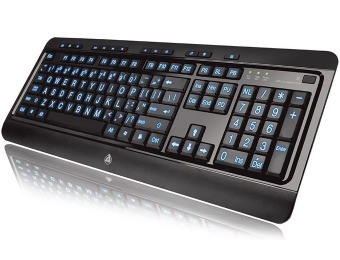 73% off Azio KB505U Large Print Tri-Color Backlit Wired Keyboard