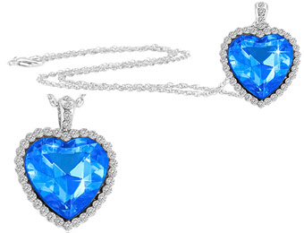 92% Off Sapphire CZ Titanic Inspired Heart Pendant