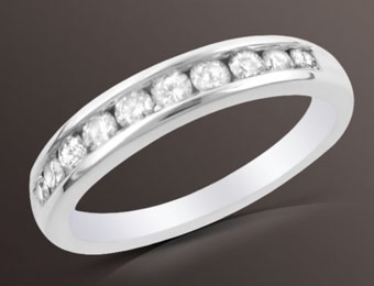 72% Off 1/4 cttw Round Diamond Channel Band in 10K White Gold