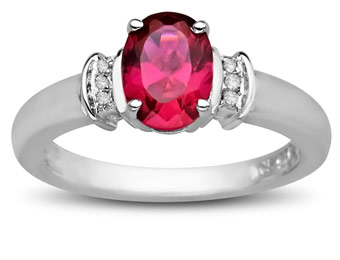 67% Off Sterling Silver 7/8 ct Ruby Ring with Diamonds