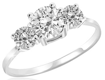 86% Off 2.25 Carat White Topaz 3-Stone Sterling Silver Ring