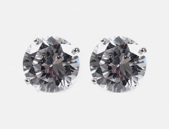 89% off Silver Stud Round Cut Replica Diamond Earrings