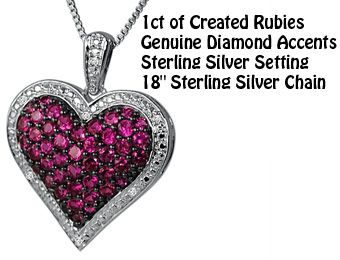74% Off MLG Jewelry 1ct Ruby & Diamond Puffed Heart Necklace