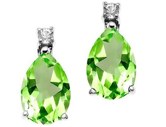 67% Off Sterling Silver 2.75ct Peridot & White Sapphire Earrings