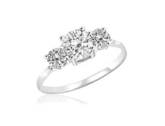 90% off 2.25 Carat White Topaz 3-Stone Sterling Silver Ring