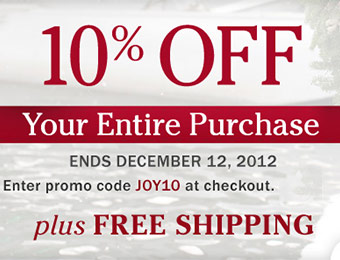 10% off your entire purchase + free shipping w/ promo code JOY10