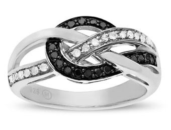 40% Off Sterling Silver 1/4 ct Black & White Diamond Ring