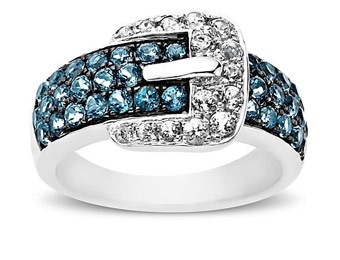 81% Off Sterling Silver Paraiba Blue Topaz Buckle Ring
