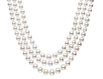75% off 14k Belle de Mer Pearl Three Strand Necklace (4-8 mm)