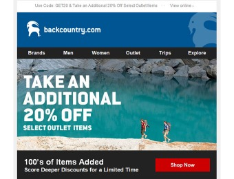 Take an Additional 20% off Select Items at Backcountry Outlet