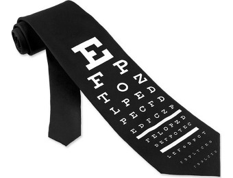 78% off Wild Ties Eye Chart Extra Long Tie, Black Microfiber