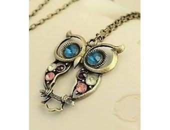 93% off Antique Alloy Crystal Baby Owl Pendant Necklace