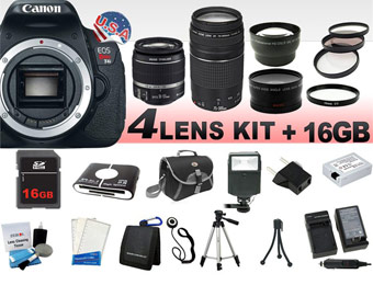 70% Off Canon EOS Rebel T4i Camera + 4 Lens Kit w/ Memory Card