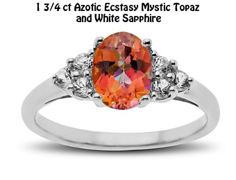 67% Off Sterling Silver 1 3/4 ct Topaz & White Sapphire Ring