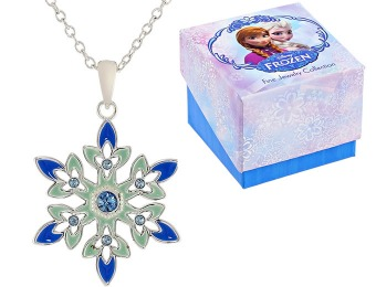 "55% off Disney ""Frozen"" Crystal Snowflake Pendant Necklace"