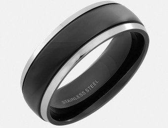 95% off Stainless Steel Black Flat Top and Stepped Edge Ring