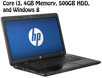 "HP 2000-2c20dx 15.6"" Laptop (Core i3,4GB Memory,500GB HDD, Win 8)"
