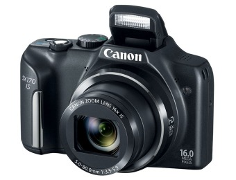 35% off Black Canon PowerShot SX170 IS 16MP Digital Camera