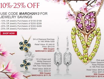 Save 10% - 25% Off at Jewelry.com w/ Code: MARCH2013