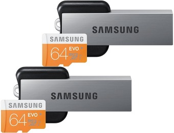 $84 off 2-Pack Samsung EVO 64GB Memory Cards + USB Readers