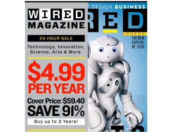 92% off Wired Magazine Subscription, $4.99 / 12 Issues