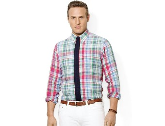 $117 off Polo Ralph Lauren Big and Tall Linen Plaid Shirt