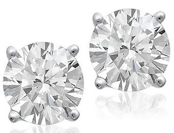 80% Off 14K White Gold 1/3 Carat Certified Diamond Studs