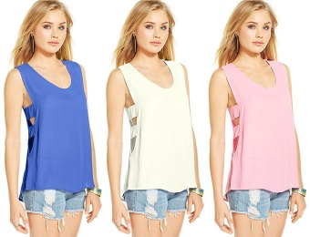 93% off Miss Chievous Juniors' Side-Cutout Top, 5 Colors