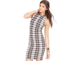 81% off Say What? Juniors' Plaid-Print Bodycon Dress