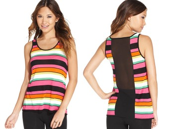 86% off eric + lani Juniors' Striped Sheer-Back Top