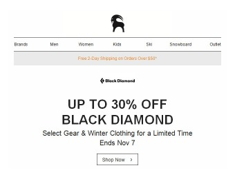30% Off Black Diamond Gear, Clothing & Accessories