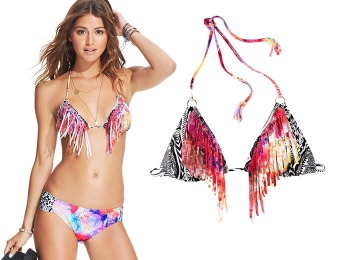 79% off Raisins Printed Fringe Triangle Bikini Top