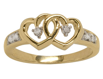 90% off Diamond Accent Heart Ring in 14k Gold over Sterling