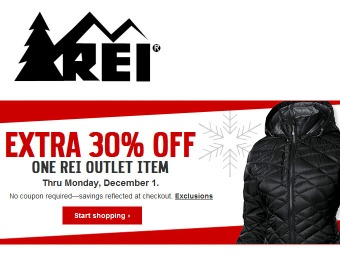 Extra 30% off Any One Item at REI Outlet