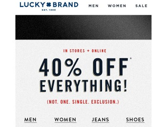 Save 40% off Everything at Lucky Brand