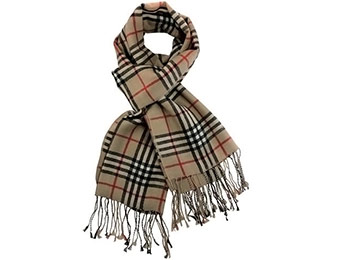 72% off Pashmina/Cashmere Classic Plaid Long Scarf Shawl