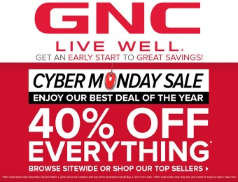 GNC Cyber Monday Sale - 40% Off Everything!