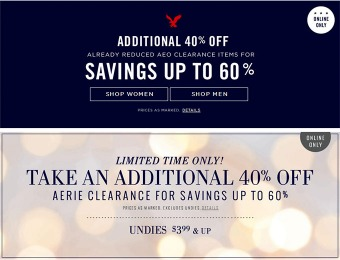 Additional 40% off American Eagle Outfitters Clearance Sale